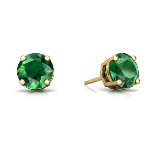 14Kt Yellow Gold Emerald Round Stud Earrings