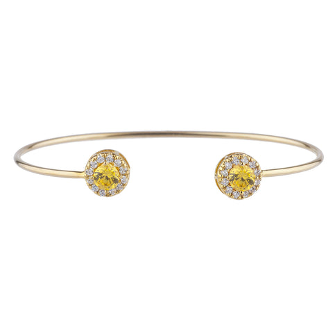 1 Ct Yellow Citrine Halo Design Round Bangle Bracelet 14Kt Yellow Gold Rose Gold Silver
