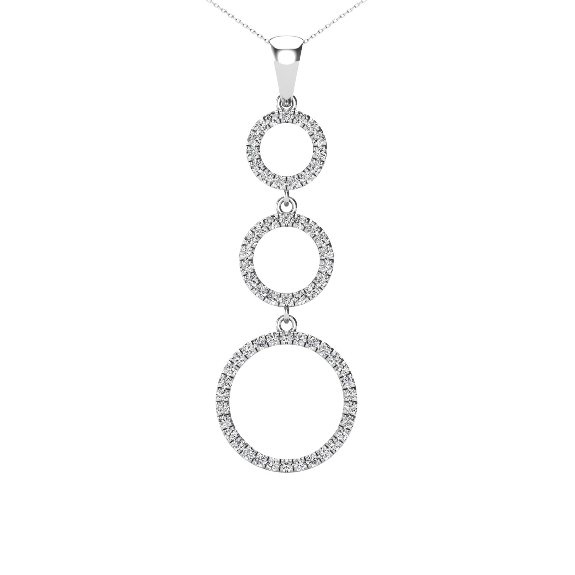 14Kt White Gold 0.25 Ct Genuine Natural Diamond Past Present Future Open Circle Design Pendant Necklace