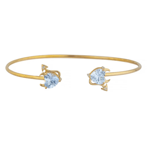 Aquamarine & Diamond Devil Heart Bangle Bracelet 14Kt Yellow Gold Rose Gold Silver