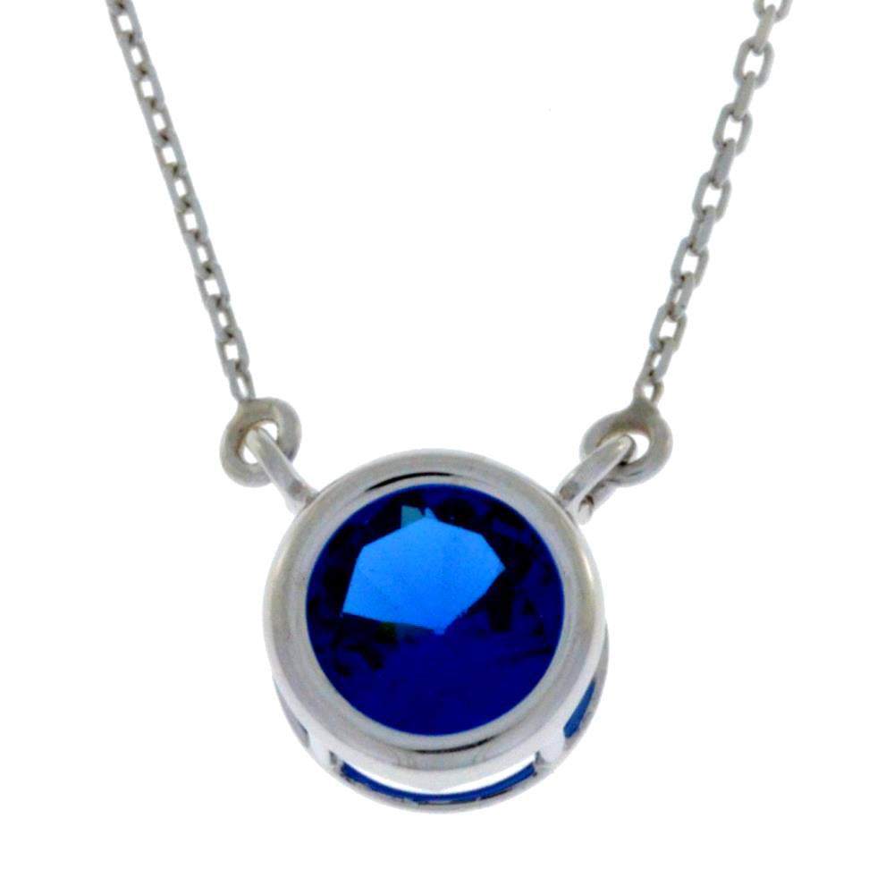 2 Ct Blue Sapphire Round Bezel Pendant .925 Sterling Silver Rhodium Finish