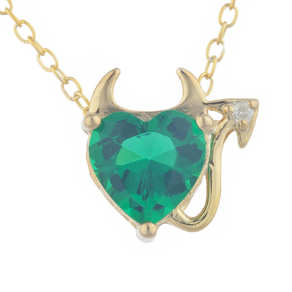 1.5 Ct Emerald & Diamond Devil Heart Pendant 14Kt Yellow Gold Silver
