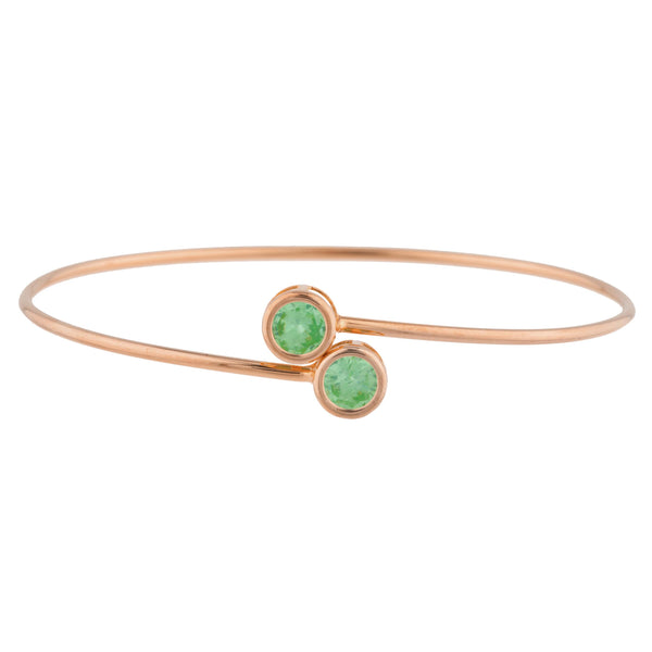 14Kt Rose Gold Plated Green Sapphire Round Bezel Bangle Bracelet