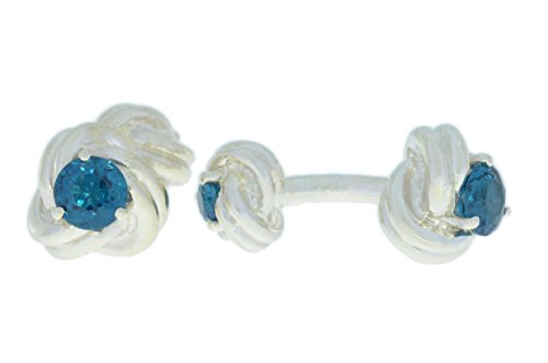 2.5 Ct London Blue Topaz Knot Cufflinks .925 Sterling Silver Rhodium Finish