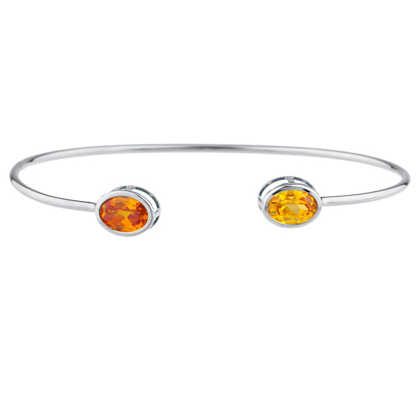 Orange & Yellow Citrine Oval Bezel Bangle Bracelet .925 Sterling Silver