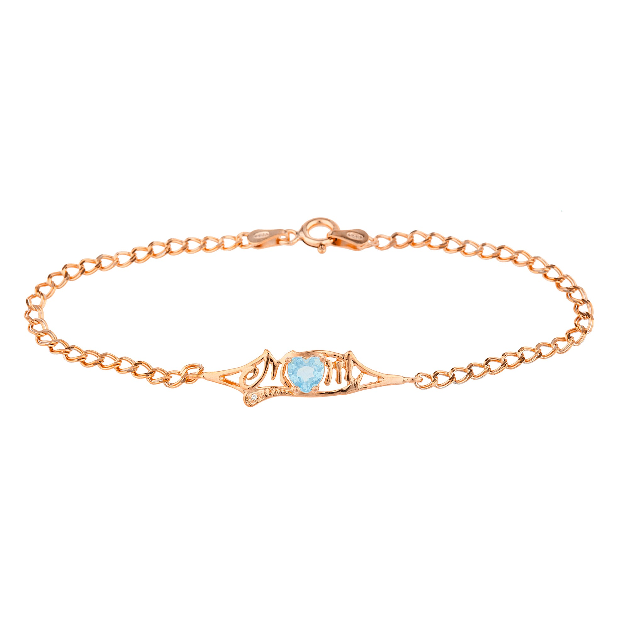 Blue Topaz & Diamond Heart Mom Bracelet 14Kt Rose Gold Plated Over .925 Sterling Silver