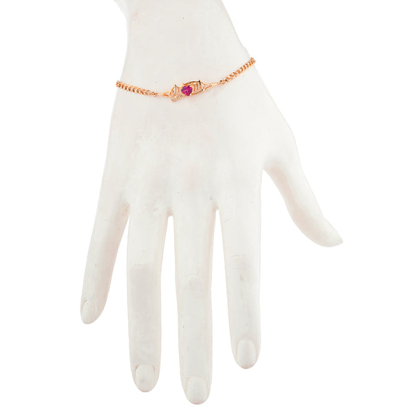 Created Ruby & Diamond Heart Mom Bracelet 14Kt Rose Gold Plated Over .925 Sterling Silver