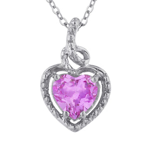 1.5 Ct Pink Sapphire Heart Design Pendant .925 Sterling Silver