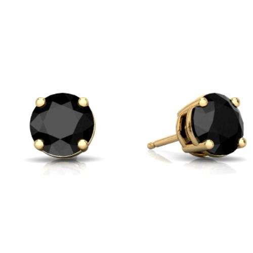 2 Ct Black Onyx Round Stud Earrings 14Kt Yellow Gold