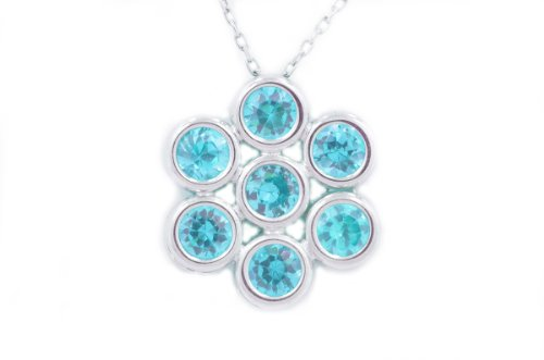 2 Ct Blue Topaz Round Bezel Pendant .925 Sterling Silver Rhodium Finish