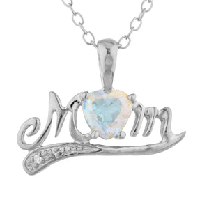 0.50 Ct Natural Mercury Mist Mystic Topaz & Diamond Heart Mom Pendant .925 Sterling Silver