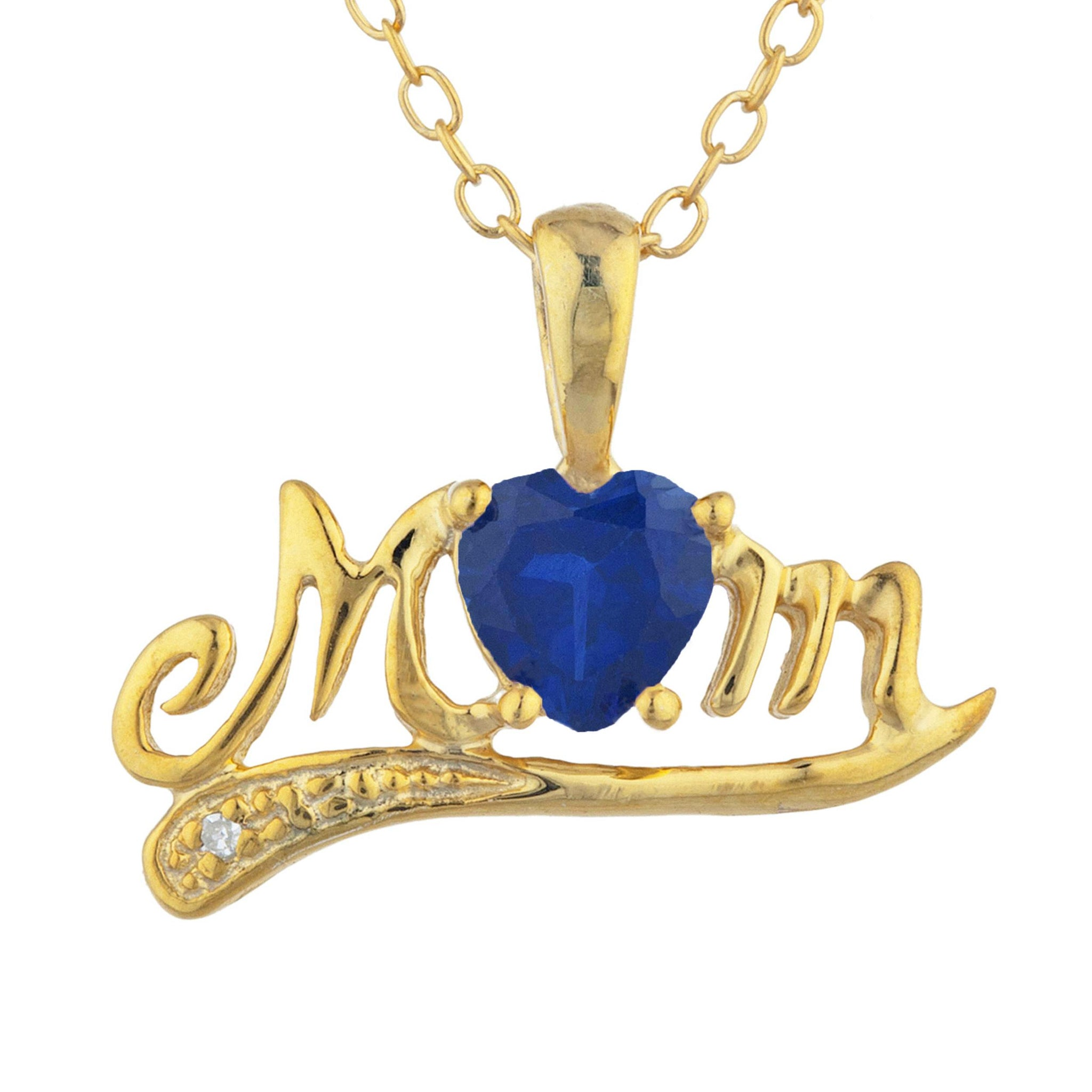14Kt Yellow Gold Plated Blue Sapphire & Diamond Heart Mom Pendant