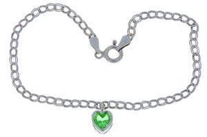 1 Ct Green Sapphire 6mm Heart Bezel Bracelet .925 Sterling Silver