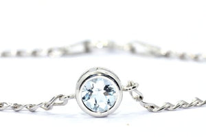 1 Carat Genuine Aquamarine Bezel Bracelet .925 Sterling Silver Rhodium Finish