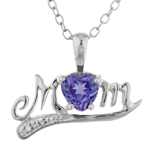 0.50 Ct Alexandrite & Diamond Heart Mom Pendant .925 Sterling Silver