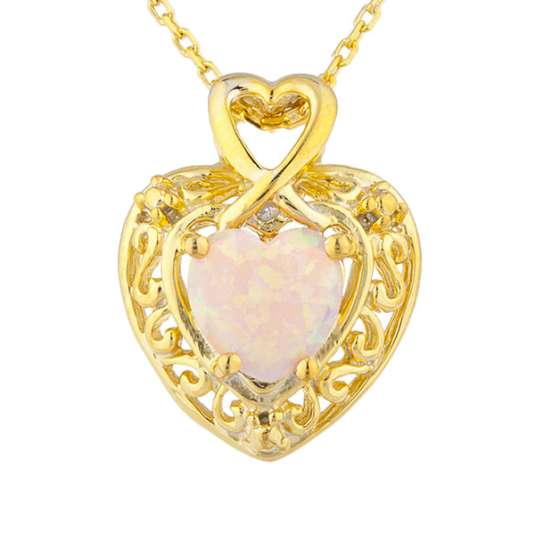 14Kt Yellow Gold Plated Pink Opal Heart Design Pendant