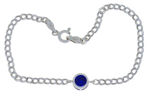 1 Ct Blue Sapphire Round Bezel Bracelet .925 Sterling Silver Rhodium Finish