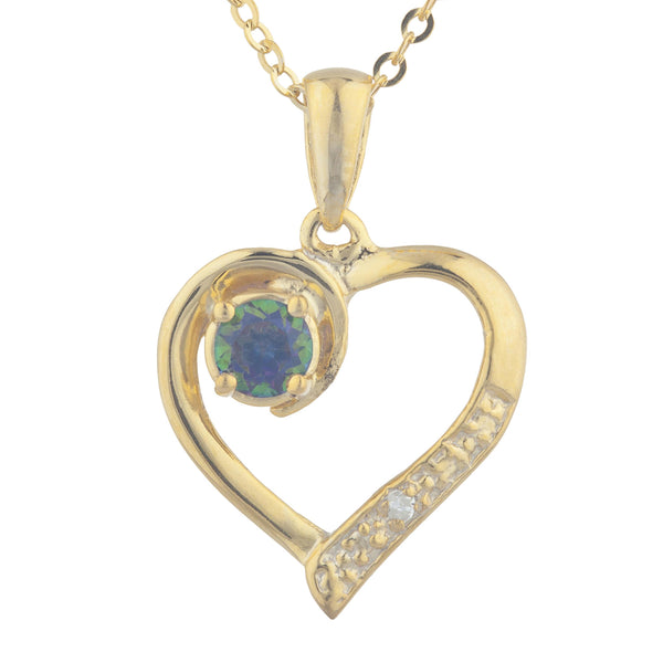 14Kt Yellow Gold Plated Natural Mystic Topaz & Diamond Heart Pendant