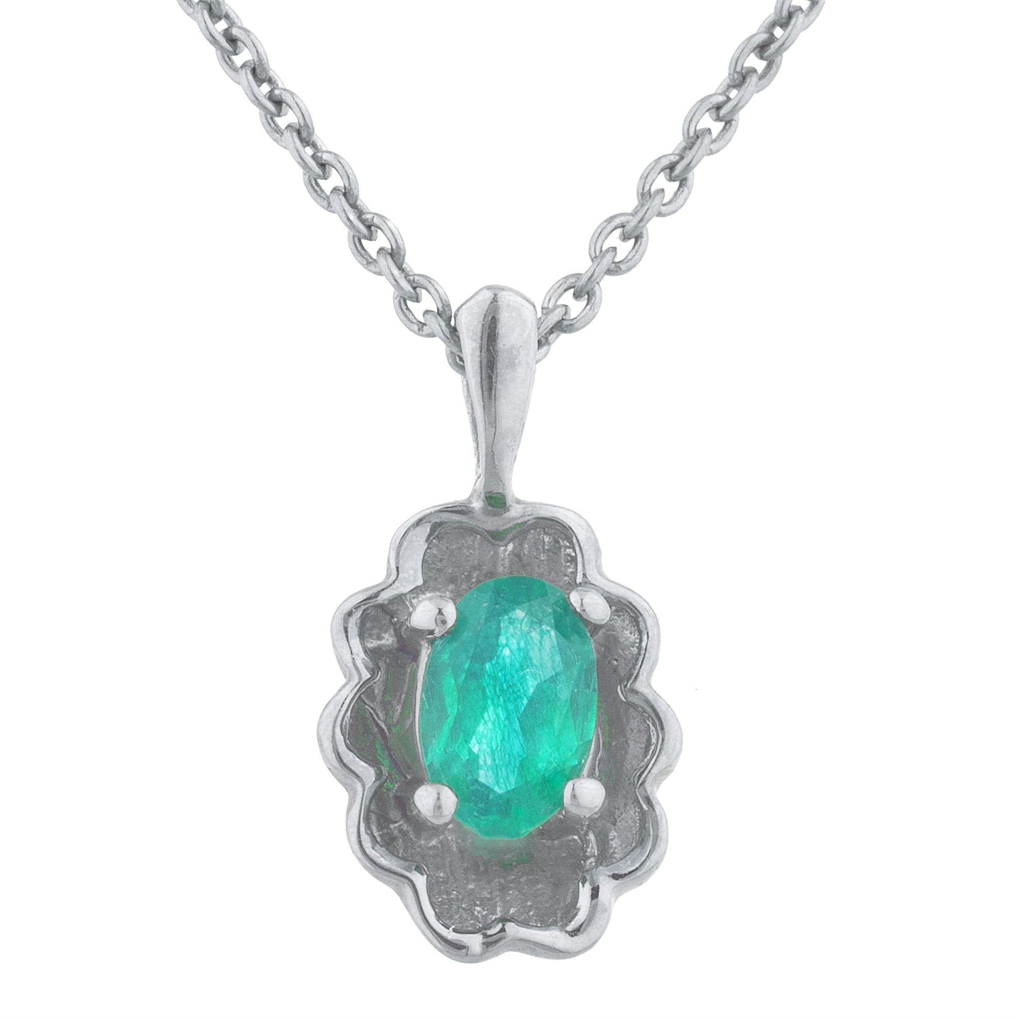 0.50 Ct Created Emerald Oval Design Pendant .925 Sterling Silver
