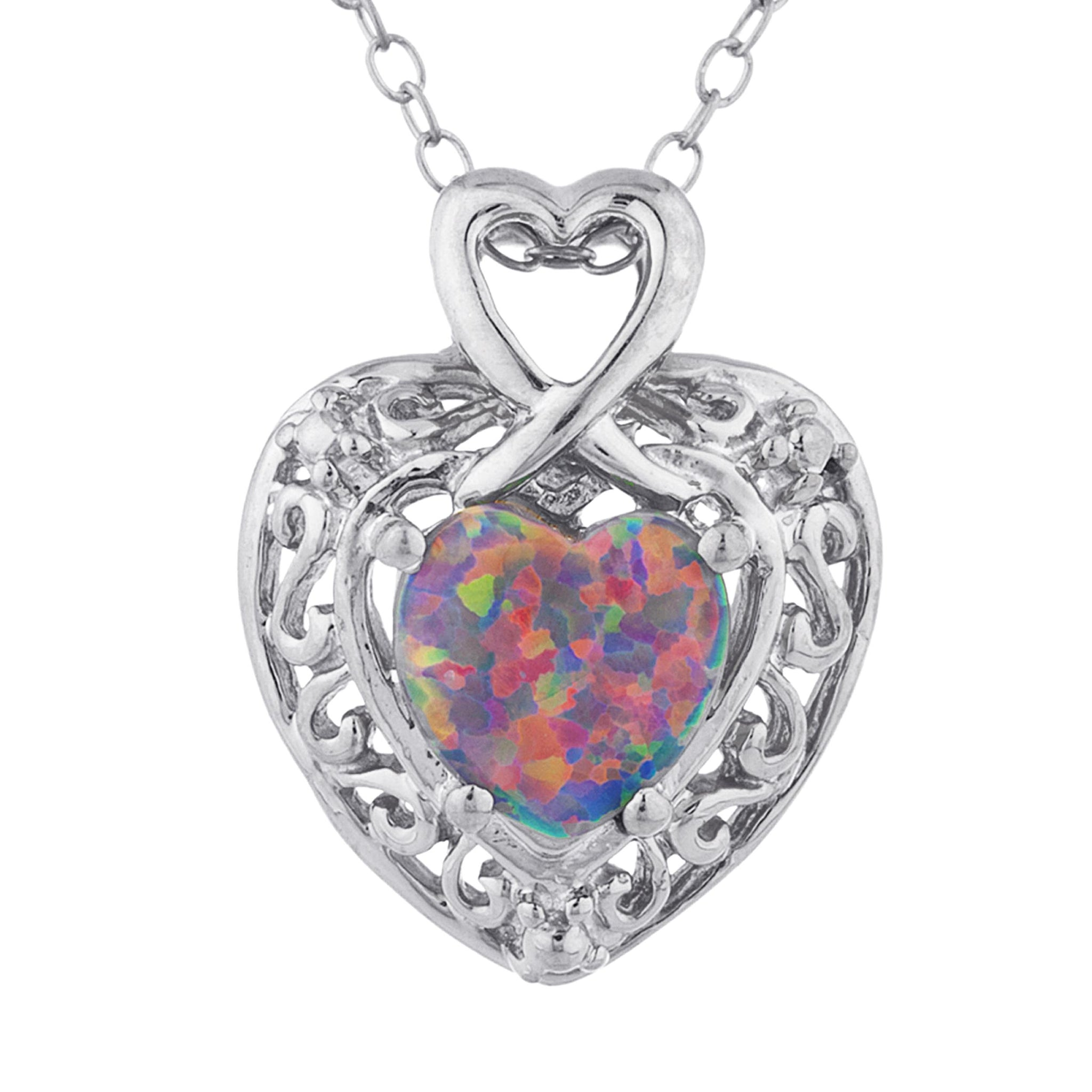 Black Opal Heart Design Pendant .925 Sterling Silver