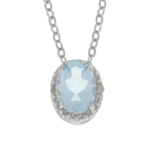1 Ct Genuine Aquamarine & Diamond Oval Pendant .925 Sterling Silver