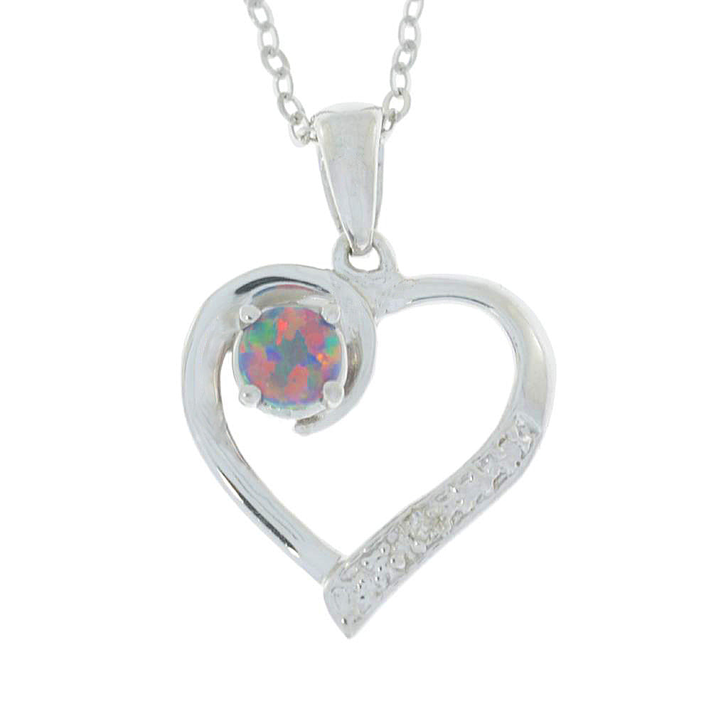 Black Opal & Diamond Heart Pendant .925 Sterling Silver Rhodium Finish