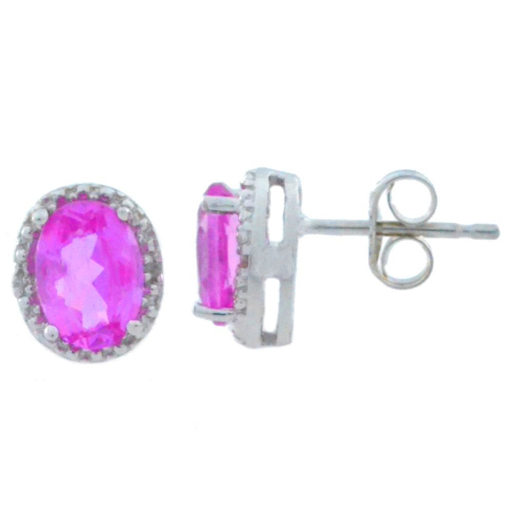 2 Ct Pink Sapphire & Diamond Oval Stud Earrings 14Kt White Gold