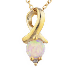 14Kt Yellow Gold Plated Pink Opal & Diamond Round Design Pendant