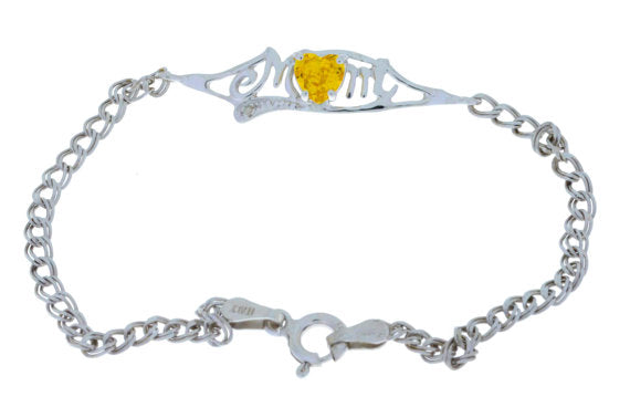 0.50 Ct Yellow Citrine 5mm Heart & Diamond Mom Bracelet .925 Sterling Silver