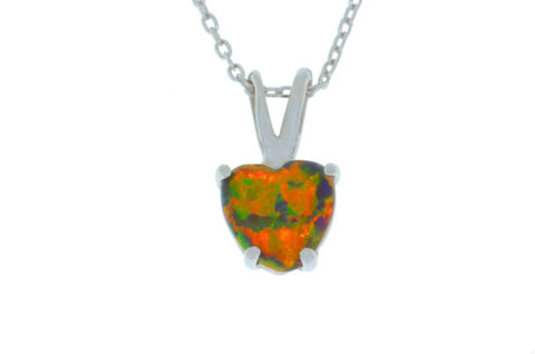 Black Opal Heart Pendant .925 Sterling Silver Rhodium Finish