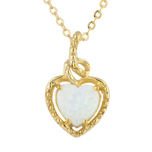 14Kt Gold Opal Heart Design Pendant Necklace