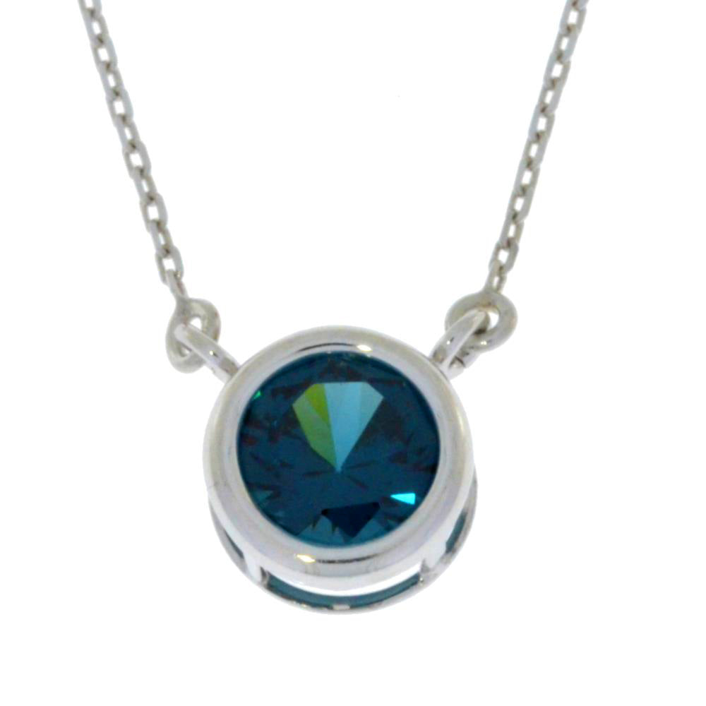 2 Ct London Blue Topaz Round Bezel Pendant .925 Sterling Silver Rhodium Finish