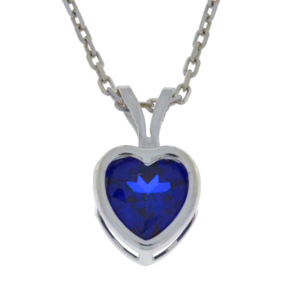 1 Ct Blue Sapphire Heart Bezel Pendant .925 Sterling Silver Rhodium Finish