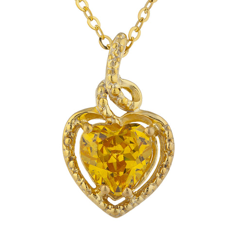 14Kt Gold Yellow Citrine Heart Design Pendant Necklace