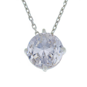 14Kt Gold Zirconia Round Pendant Necklace