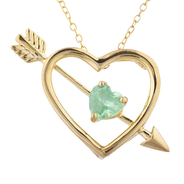 14Kt Yellow Gold Plated Green Sapphire Heart Bow & Arrow Pendant