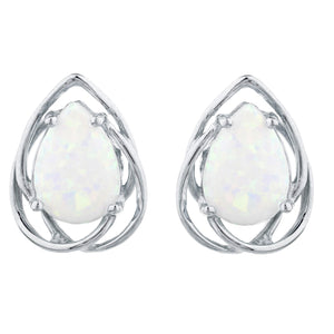 Opal Pear Teardrop Design Stud Earrings .925 Sterling Silver