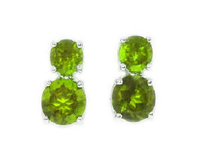 3 Ct Peridot Round Double Stud Earrings .925 Sterling Silver