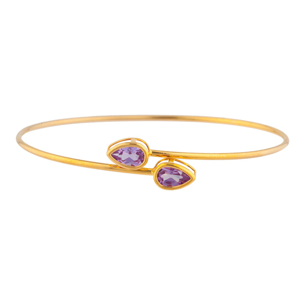 14Kt Yellow Gold Plated Alexandrite Pear Bezel Bangle Bracelet