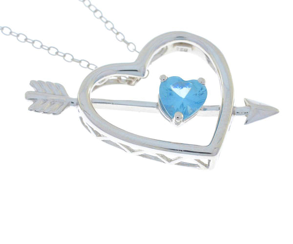Blue Topaz Heart Bow & Arrow Pendant .925 Sterling Silver Rhodium Finish