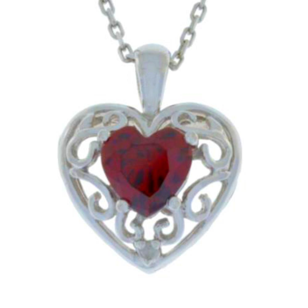 1 Ct Garnet & Diamond Heart Love Engraved Pendant .925 Sterling Silver Rhodium Finish