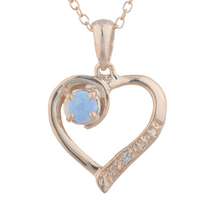 14Kt Rose Gold Plated Blue Opal & Diamond Heart Pendant