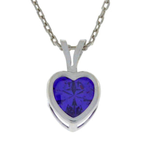 1 Ct Amethyst Heart Bezel Pendant .925 Sterling Silver Rhodium Finish