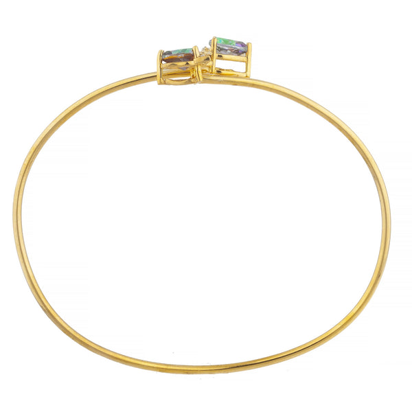 14Kt Gold Natural Mystic Topaz & Diamond Devil Heart Bangle Bracelet