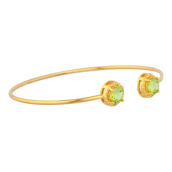14Kt Yellow Gold Plated Peridot & Diamond Round Bangle Bracelet