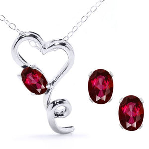 2.5 Ct Ruby Oval Heart Stud Earrings & Pendant .925 Sterling Silver Rhodium F...