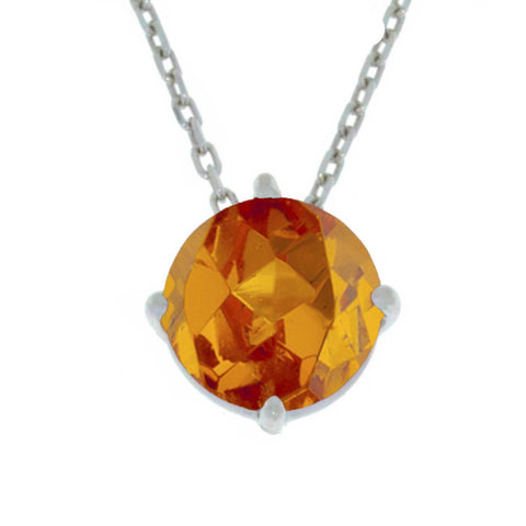 14Kt Gold Orange Citrine Round Pendant Necklace