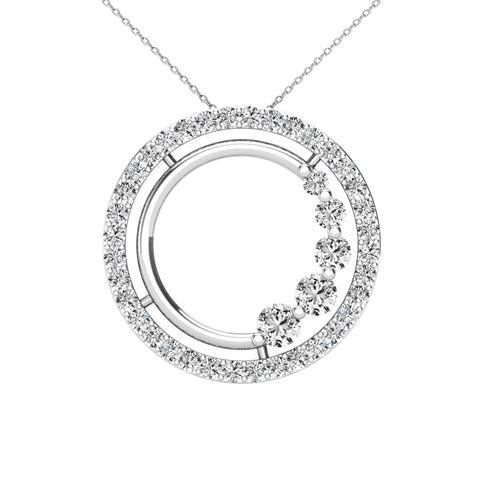 14Kt White Gold 0.40 Ct Genuine Natural Diamond Open Circle Design Pendant Necklace