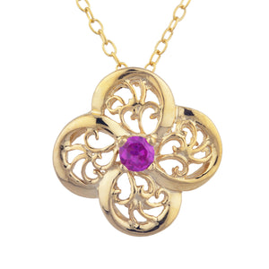 14Kt Gold Created Ruby Clover Design Pendant Necklace