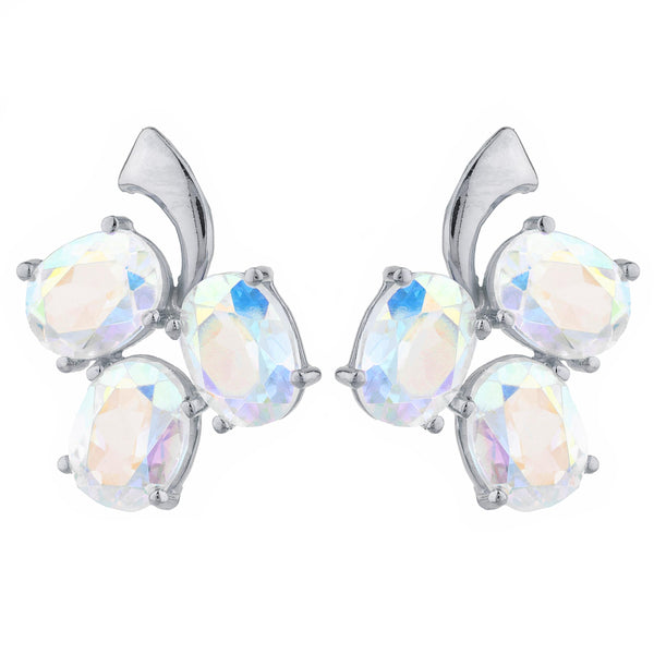 9 Ct Natural Mercury Mist Mystic Topaz Oval Design Stud Earrings .925 Sterling Silver